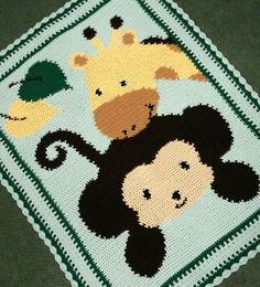 Free Monkey Afghan Crochet Patterns | Crochet Patterns - MONKEY & GIRAFFE BABY AFGHAN PATTERN for sale