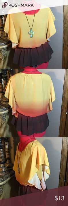 """Beautiful ombré top Cute and feminine with its flutter sleeves and ombré color. Elastic waist. Lined bodice. Shoulder to hem - 20"""". new directions Tops"""