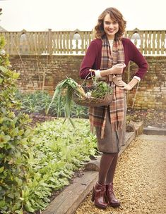 Scarf, £39.95, Fenwick, 020 7629 9161; Top, £29, hobbs.co.uk; Sweater, £15, hm.com; Skirt, £125, jaeger.co.uk; Belt, £35, jigsaw -online.com; Tights, £6, marksand spencer.com; Boots, £39.99, zara.com