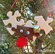 Puzzle Piece Reindeer Ornaments