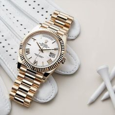 From the fluted bezel to the polished hour markers and hands the many facets of the Rolex Day-Date 40 create sophisticated reflections and a subtle visual resonance. 305-377-3335 www.diamomdclubmiam.com #Rolex #DayDate #gmtmaster #rolexaholics #wristpor Stylish Watches, Luxury Watches For Men, Cool Watches, Rolex Watches, Rolex Diver, Swiss Army Watches, Rolex Day Date, Hand Watch, Men Accessories