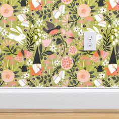 Garden Friends - Spoonflower Perfect Wallpaper, Wallpaper Roll, Friends Wallpaper, Design 24, Custom Wallpaper, Textured Walls, Surface Design, Creative Business