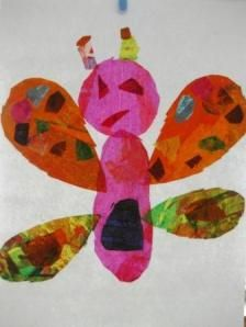 The colors and the textures he creates on tissue paper is magical and the whole process is easy and fun for any age.    Pre-K is learning about insects and I thought making Eric Carle inspired insects from scratch would be a fabulous experience for the little ones.