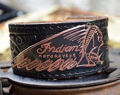 Vintage Inspired Indian Motorcycle Emblem Leather Man Cuff : Hand Engraved Copper Badge, Vintage Leather Belt Cuff