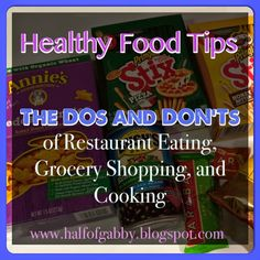 Here's some quick and easy healthy tips to keep in mind when you're eating out at restaurants, shopping at the grocery stores, and cooking at home. Follow Half of Gabby on Facebook for daily weight loss & health tips, recipes, motivation, family health ideas, and much more!