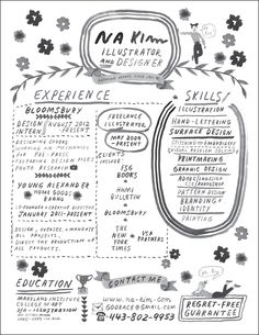 Hand-lettered resume. Love this. If you're in a creative profession, your resume absolutely has to showcase your creativity.