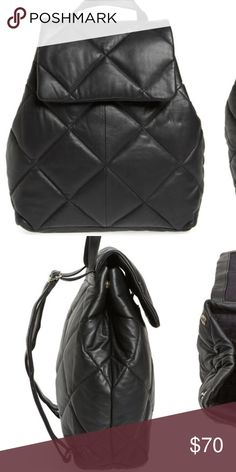 Topshop Bryan Puffer Backpack New, never used. Black Quilted design. Materials used are sheep skin soft leather and cotton inner lining. Zipper pocket inside bag, as well as two small pockets for small items. Topshop Bags Backpacks