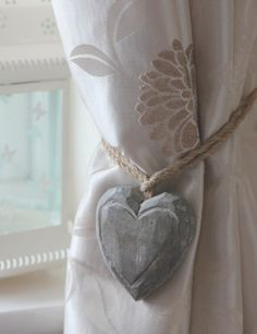 Curtain Tie Back Ideas | Wooden heart curtain tie-backs pair only £6.00 - The…