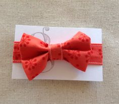 Handmade Velcro Boys Bow Tie in Coral Red // by by GraceCoHandmade, $15.00