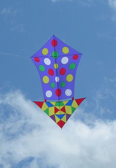 Flat or Bowed Kites. Besides looking like a color-blindness test, this one could be taken several ways... Is it a Diamond with a modified lower portion? An Arrow kite, pointing down? A Roller kite with no gap between the upper and lower sails? Probably none of the above - just an inventive kite-maker at work! T.P. (my-best-kite.com)