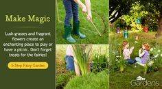 Plant a circle of lush grasses and fragrant flowers to create a whimsical place for kids to play or have a picnic.
