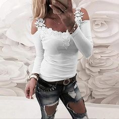 Sexy Bluse, Bluse Outfit, Vetement Fashion, Womens Fashion Online, Lace Applique, Floral Embroidery, Pattern Fashion, Shirt Blouses, Blouses For Women