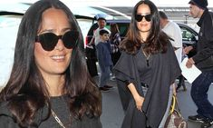 Salma Hayek is a smart traveler in casual chic outfit at LAX