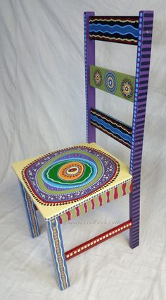 Custom painted chair- this one is sold, but I am available for custom orders! Painted Wooden Chairs, Whimsical Painted Furniture, Hand Painted Furniture, Paint Furniture, Plywood Furniture, Furniture Design, Furniture Online, Discount Furniture, Luxury Furniture