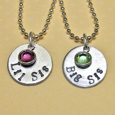 Personalized Custom Hand Stamped Big Sis Lil Sis Necklace Set by Korena Loves. $34.00, via Etsy.