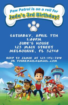 Paw Patrol Birthday Invitation by UniquelyJDesigns on Etsy