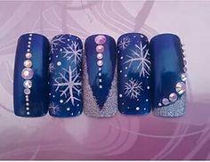Azul plata Cute Christmas Nails, Holiday Nails, Christmas Design, Winter Nail Art, Winter Nails, Love Nails, Gel Nails, Nail Nail, Beauty Nails