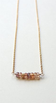 handmade gold sapphire bar necklace by flow designs