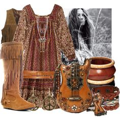 brown hippie, created by on Sam Edelman Lucky Brand Boho Chic, Hippie Chic, Hippie Style, Bohemian Style, My Style, Bohemian Clothing, Estilo Hippie, Vogue, Hippie Outfits
