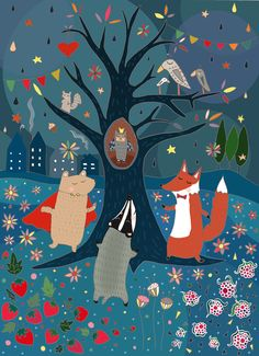 illustration, animal, bird, owl, badger. fox, bear, flower, floral, pattern, design, tree, squirrel, naive