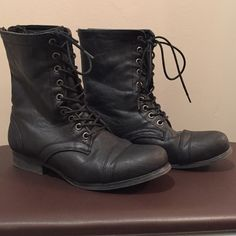 Madden Girl Boots Black leather boots, good condition, worn a couple of times, no flaws except a little dusty but can be wiped with wet cloth, haven't worn in a year or so Steve Madden Shoes Ankle Boots & Booties