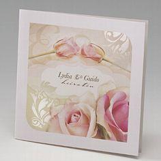 Elegante Einladungskarte Zur Hochzeit Mit Zarten Rosen