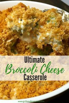 Ultimate Broccoli Cheese Casserole is a family-favorite, and this easy recipe with its cheesy broccoli goodness and buttered cracker crumb topping, is the best! It's a perfect side dish for the holidays including Thanksgiving! Vegetable Dishes, Vegetable Recipes, Brocolli Side Dishes, Veggie Side Dishes, Cake Courgette, Comida Keto, Vegetable Casserole, Broccoli Cheese Casserole Easy, Brocoli Casserole Recipes