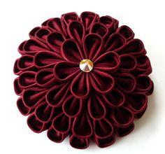Kanzashi bordo fabric flower brooch in gift box by JuLVa on Etsy, $25.00