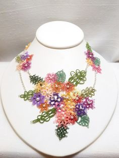 Handmade Fiber Art Statement Necklace Floral by SnappyTatter