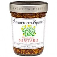 Whole Seed Mustard from American Spoon - it bursts in your mouth like Caviar. It elivates the lowly dog into a work of art. I was just introduced to this product...now waiting to taste much more of their line!