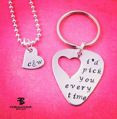 This necklace and keychain set makes a great gift for an anniversary, wedding, Mother's Day, Father's Day, Valentine's Day or to celebrate that special music-lover in your life! It's a 2-in-1 couples gift! HE gets a keychain and SHE gets a custom necklace!