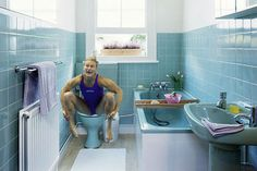 blue bathroom This avocado bathroom suite is so retro it's cool. 1950s Bathroom, Vintage Bathrooms, White Bathroom, Small Bathroom, Master Bathroom, Gray Bathrooms, Bathroom Closet, Bathroom Rugs, Avocado Bathroom Suite