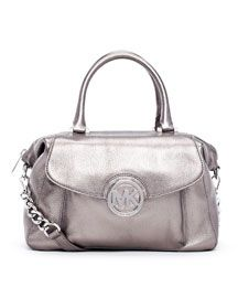 V1BQ5 MICHAEL Michael Kors  Large Fulton Metallic Pebbled Leather Satchel    this bag equals sex