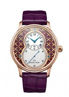 Jaquet Droz- Grande Seconde Paillonnée | Paillonné dial in violet Grand Feu enamel. 18-carat red gold case. Self-winding mechanical movement. Power reserve of 68 hours. Diameter 43 mm. Numerus Clausus of 8.