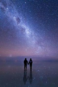 Together with the Stars -- the magical and surreal 4,000-sq. mi. Altiplano salt flat of Salar de Uyuni, Bolivia ... the high plateau at an 11,975-ft. elevation turns into a perfect mirror after any rainfall during the rainy season from Feb. - April.