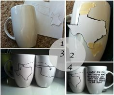 DIY best friend mugs. Trace your states with a sharpie and link them up. Bake them in the oven at 350 degrees for 30 minutes. And it's permanent! Cute Crafts, Crafts To Do, Arts And Crafts, Friends Coffee Mug, Coffee Mugs, Friend Mugs, Friend Gifts, Diy Projects To Try, Craft Projects