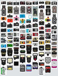 <3 ... A collection of 100 pixelated camera illustrations for anybody to download and use in whatever way they see fit.