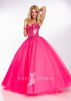 ball gown corset beaded bodice sweetheart strapless fuschia prom dress