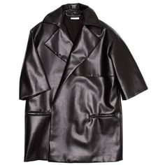 Preowned Celine Black Boxy Oversized Coat (€3.045) ❤ liked on Polyvore featuring outerwear, coats, black, knee length coat, oversized coat, oversized trench coat, oversized lapel coat and trench coat