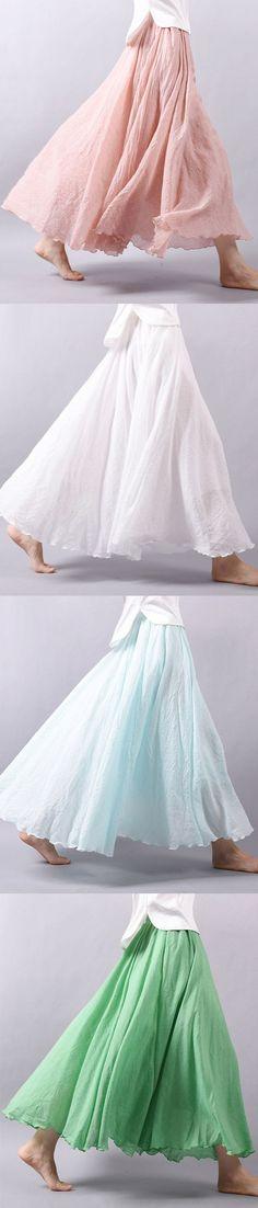 US$20.06 Gracila #women Casual Loose Cotton Pure Color Skirt_Women Vintage Loose Maxi Skirt_Summer Casual Cotton Skirt_Color Summer Maxi Skirt For Women
