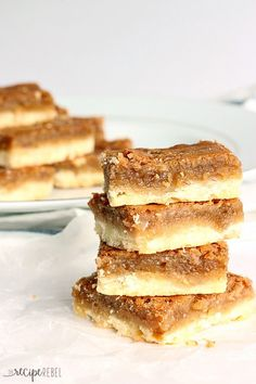 Butter Tart Squares: Ooey, gooey, sugary, buttery filling on top of a buttery shortbread crust -- so easy and SO good! The shortcut to good butter tarts. www.thereciperebel.com