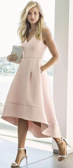 Nude High Low Prom Dress                                                                             Source