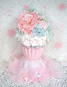 Giant Faux Shabby Cupcake Decoration by FrenchKissedPink on Etsy, $72.00