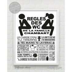 Tableau / affiche personnalisé - Règles des toilettes / WC