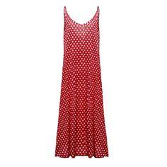 e49c0ecfdf4 Plus Size Summer Dress 2017 Women Polka Dot Print V Neck Sleeveless  Sundress Loose Maxi Long Beach Bohemian Vintage Dress
