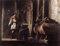 Johann Heinrich Schoenfeld, Alexander the Great before the Tomb of Achilles c. 1630 Oil on canvas, 101 x 128 cm cm Galleria Nazionale d'Arte Antica, Rome