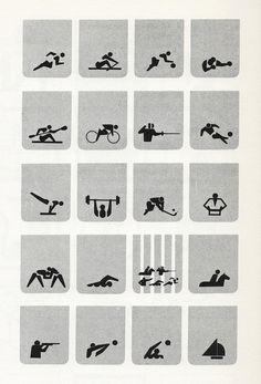 Masaru Katzumie (art director) and Yusaku Kamekura (designer), and their staff, twenty complehensive multi-sport symbols for the Tokyo Olympiad, 1964