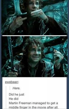 He managed to get that middle finger up in #TheHobbit too. OH MARTIN. #MartinFreeman