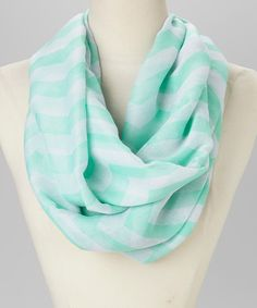 Take a look at the Mint & White Zigzag Infinity Scarf on #zulily today!