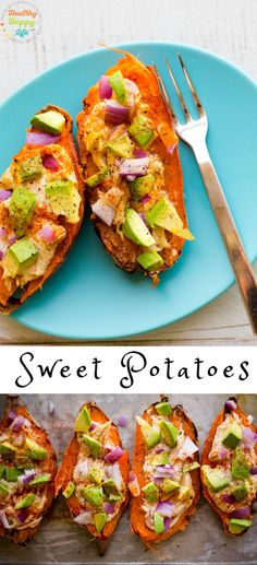 The Best Stuffed Baked Sweet Potatoes with avocado and hummus and spices. Perfect for lunch of dinner. Vegan and gluten-free recipe.